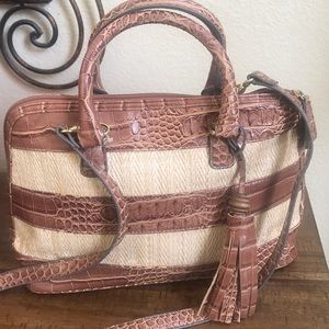 Bueno straw and faux croc satchel